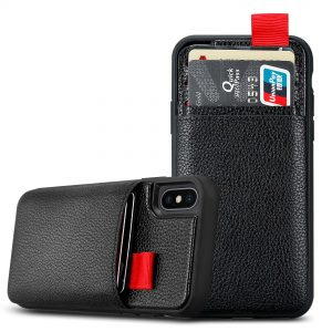 Θήκη TPU σιλικόνης με πλάτη δερματίνης και 3 υποδοχες καρτών για iPhone XS/X – Μαύρη