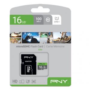 Κάρτα μνήμης microSDHC, Class 10 UHS-I U1, 16GB,έως και 100 MB/s με αντάπτορα SD PNY P-SDU16GU185GW-GE 16GB