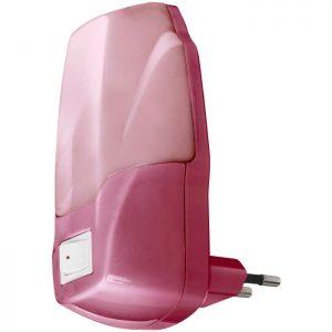 Φωτάκι νυκτός LED με διακόπτη, ροζ.