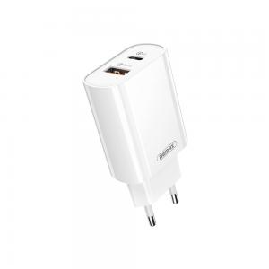 Φορτιστής Remax Λευκός Simple RP-U37, 1xUSB QC3.0, 1xType-C PD