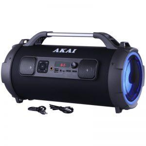 Φορητό ηχείο Akai ABTS-13K  Bluetooth karaoke με LED, USB, micro SD και Aux-In – 24 W