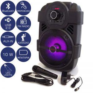 Φορητό Ηχείο Akai ABTS-808L Bluetooth με LED, USB, Aux-In και Μικρόφωνο – 10 W