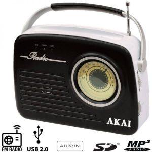 Akai APR-11B Ρετρό φορητό ραδιόφωνο με USB, κάρτα SD και Aux-In Μαυρο