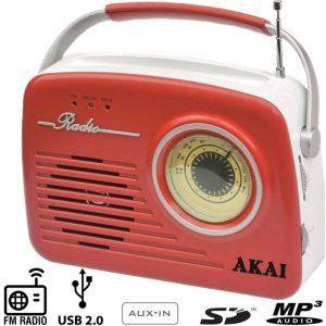 Akai APR-11B Ρετρό φορητό ραδιόφωνο με USB, κάρτα SD και Aux-In Κόκκινο