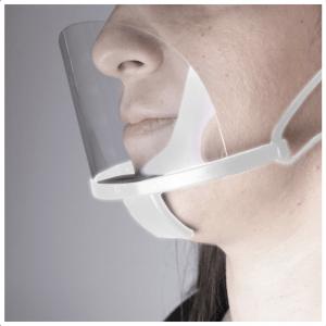 Διάφανη πλαστική προστατευτική μάσκα προσώπου πολλαπλών χρήσεων, σε λευκό χρώμα.