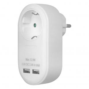 Ανταπτόρας με pass-through και 2 θύρες φόρτισης USB (2.4Α). SONORA PAW100-2USB24