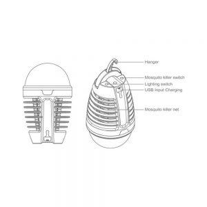 Επαναφορτιζόμενη ηλεκτρική έντομοπαγίδα + Φακός COM