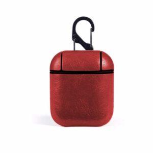 Δερμάτινη Προστατευτική Θήκη για  Apple AirPods με Keychain Hook Κοκκινο