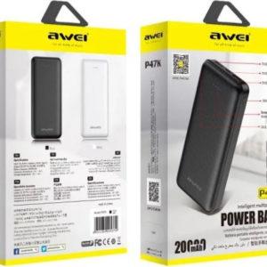 Φορητός Φορτιστής, Power Bank  Awei Power Bank P47K 20000mAh Μαύρο