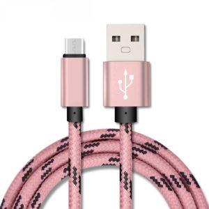 Καλώδιο Micro USB 1μ Υφασμάτινο Ρόζ EC-015MP