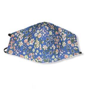 Υφασμάτινη προστατευτική μάσκα προσώπου πολλαπλών χρήσεων Μπλε με λουλούδια. Med-WBlue