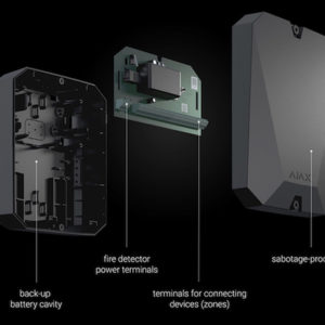 Integration Module για την σύνδεση 18 ενσύρματων περιφερειακών συσκευών/ζώνων, σε μαύρο χρώμα. AJAX SYSTEMS – MULTI TRANSMITTER BLACK