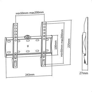 Επιτοίχια βάση στήριξης με ενσωματωμένο αλφάδι για τηλεοράσεις LED/LCD/Plasma από 23″ έως 42″. SUPERIOR 23-42 FIXED EXTRA SLIM