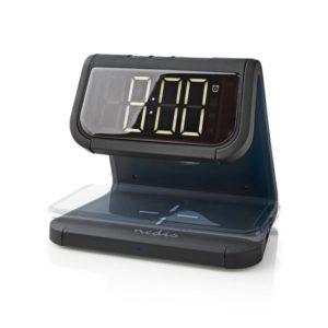 Aσύρματος Qi ταχυφόρτιστης κινητού & επιτραπέζιο ρολόι / ξυπνητήρι με φωτισμό, σε μαύρο χρώμα. NEDIS WCACQ10W1BK