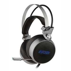 Gaming headset με retractable μικρόφωνο, σε gunmetal grey χρώμα και μπλε LED φωτισμό. NOD JARHEAD