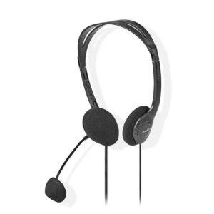 Στερεοφωνικό on-ear headset, με σύνδεση 2×3,5mm. NEDIS CHST100BK