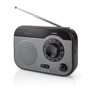 Φορητό ραδιόφωνο FM/AM, σε μαύρο/γκρι χρώμα. NEDIS RDFM1340GY
