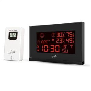 Curved Design μετεωρολογικός σταθμός με ασύρματο εξωτερικό αισθητήρα, οθόνη LCD 5.5″, με επιλογή μεταξύ 8 διαφορετικών χρωμάτων των ψηφίων και ρολόι / ξυπνητήρι. LIFE TUNDRA CURVED 8C