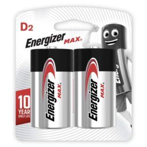 Αλκαλικές μπαταρίες Εnergizer MAX D-LR20, σε blister 2 τεμαχίων.