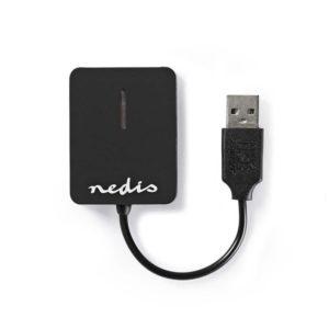 Card reader All-in-One USB 2.0, με ενσωματωμένο καλώδιο. NEDIS CRDRU2300BK