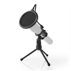 Επιτραπέζιος τρίποδας μικροφώνου με pop φίλτρο. NEDIS MPST00BK