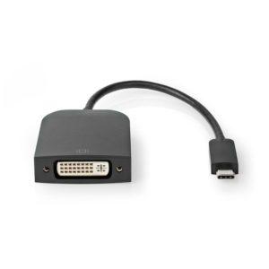 Μετατροπέας από USB 3.1 Type-C αρσ. σε DVI-D 24 + 1-Pin θηλ., με ενσωματωμένο καλώδιο 0.20m, σε μαύρο χρώμα.