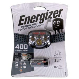 Φακός κεφαλής Energizer Vision HD+ Focus με 3 μπαταρίες AAA και φωτεινότητα 400 Lumens. ENERGIZER VISION HD & FOCUS