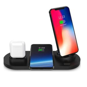 4 IN 1 Charging Stand Wireless for Lightning / Type-C / Micro USB Black. Dock4in1