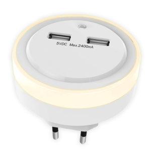 Φωτάκι νυκτός LED με 2 θύρες φόρτισης USB. SONORA RING LIGHT USB