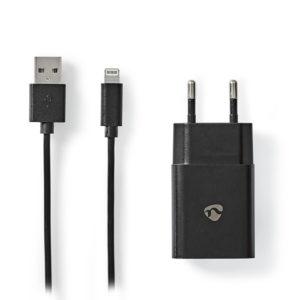 Universal φορτιστής USB 2.4 A, με αποσπώμενο καλώδιο Lightning 8-Pin, σε μαύρο χρώμα.NEDIS WCHAL242ABK