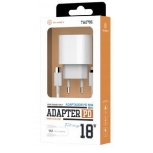 Fast Charger Pd 18W + iPhone Cable typeC to Lightning 1M White Techancy TF10075