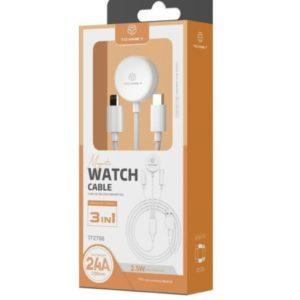 3In1 καλώδιο ταχείας φόρτισης 1.2m apple watch & iPhone Techancy TF36029