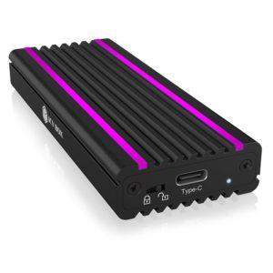 Εξωτερική θήκη αλουμινίου με write protection για σκληρούς δίσκους M.2 NVMe SSD, με σύνδεση USB 3.1 (Gen 2) Type-C και RGB φωτισμό. IB-1824ML-C31