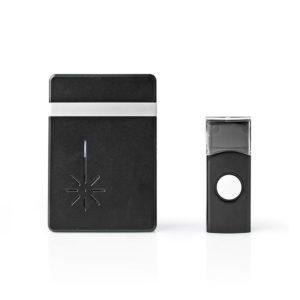 Ασύρματο κουδούνι με LED ένδειξη και δυνατότητα αυξομείωσης της έντασης του κουδουνιού έως 80dB, σε μαύρο χρώμα. NEDIS DOORB212BK