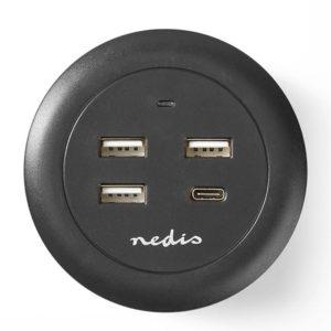 Universal επιτραπέζιος φορτιστής με 4 εξόδους (1x USB-C & 3x USB-A), 3.0A, σε γκρι/μαύρο χρώμα. NEDIS FSCSPD100BK