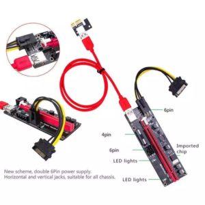 PCI-E Riser 009S 1X 16x Extender PCI E USB Riser Dual 6 Pin Adapter Card SATA 15pin For BTC Miner USB 3.0 Graphics Card