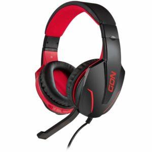 Gaming headset με ρυθμιζόμενο σε κλίση μικρόφωνο, σε μαύρο χρώμα και κόκκινο LED φωτισμό. NOD GROUND POUNDER