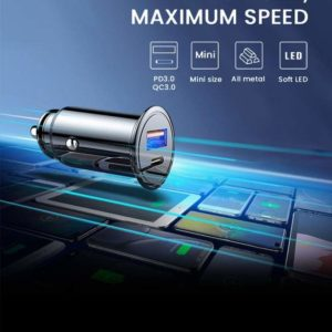 Chargeasap Car charger, USB & Type-C, 30W, Black