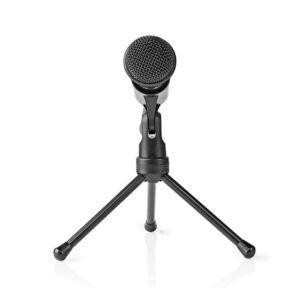 Ενσύρματο μικρόφωνο με τρίποδα και καλώδιο 1.8m NEDIS MICTJ100BK