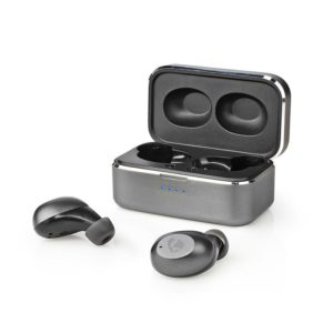Bluetooth ακουστικά handsfree με θήκη φόρτισης, σε γκρι χρώμα. NEDIS HPBT5056GY