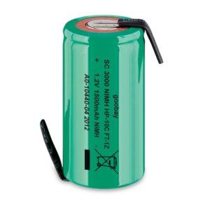 Επαναφορτιζόμενη μπαταρία 1.2V 1500mAh Sub-C Ni-MH με λαμάκια.