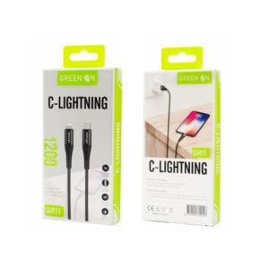 Καλώδιο Fast Charging Cable Usb C To Lightning 1.2m GREEN ON GR11