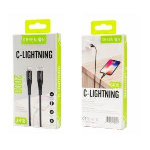 Καλώδιο Fast Charging Cable Usb C To Lightning 2m GREEN ON GR10