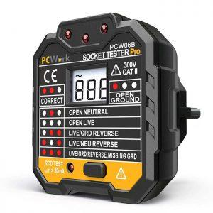 Όργανο ελέγχου ορθής καλωδίωσης πρίζας (socket tester) με ψηφιακή οθόνη. PCWork PCW06B