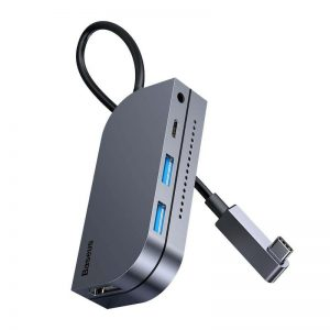 Baseus HUB Bend Angle Multifunctional (Type-C to 2xUSB3.0 + HDMI 4K + PD 100W + 3.5mm + TF) Upgraded version Space Gray