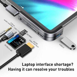 Baseus HUB Bend Angle Multifunctional Type-C for iPad/Tablet Dark Gray