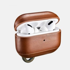 iCarer Apple Airpods Pro Case Vintage Leather (with the metal hook) Brown