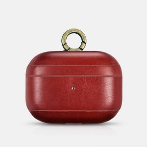 iCarer Apple Airpods Pro Case Vintage Leather (with the metal hook) Red