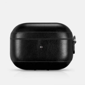 iCarer Apple Airpods Pro Case Vintage Leather (with wrist strap Lanyard) Black