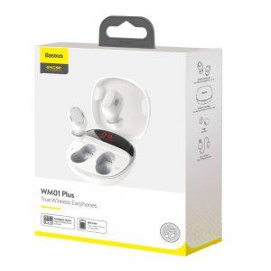 Baseus Earphone Bluetooth Encok WM01 Plus True Wireless White (NGWM01P-02)
